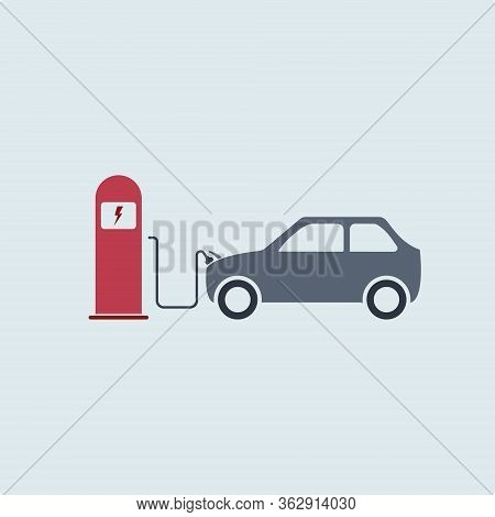Electric Car Is Charging Near The Charging Station. Electric Vehicle Charging Station, Charging Car,