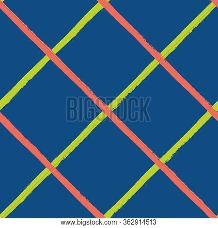 Vector Wicker Weave Seamless Pattern Background. Painterly Grunge Brush Diagonal Stripe Backdrop. Wo