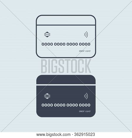 Bank Credit Or Debit Card In Flat Simple Outline Style On White Blue Background. Concept Finance. Ve