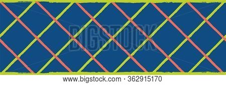 Vector Wicker Weave Seamless Border Pattern. Painterly Grunge Brush Diagonal Plaid Stripe Banner. Wo