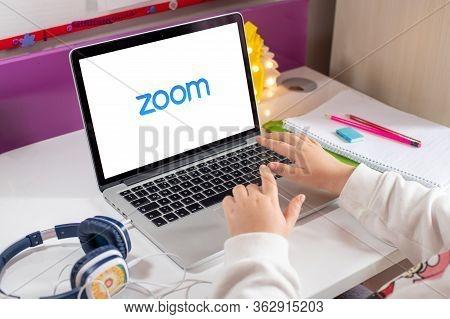 Antalya, Turkey - April 24, 2020. Computer Showing Zoom Cloud Meetings App Logo.