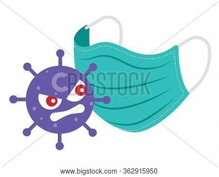 Cartoon Coronavirus Feel Angry With The Surgical Protective Mask. Surgical Protective Mask To Protec