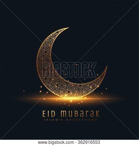 Beautiful Eid Mubarak Golden Decorative Moon Greeting Vector Design Illustration