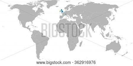 Switzerland, United Kingdom Highlighted On World Map. Light Gray Background. Business Concepts, Dipl