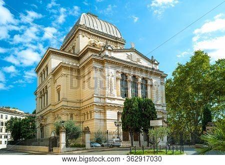 Rome, Italy - October 02, 2019: Tiberina Island, The Synagogue Tempio Maggiore Di Roma
