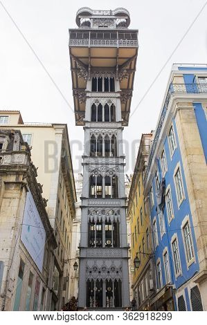 Lisbon, Portugal - Feb 10th, 2020:  Santa Justa Lift. The Elevator Connect Baixa Pombalina And Chiad