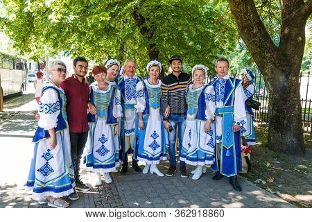 Riga, Latvia - July 9, 2018: Group Portrait Of The Belarusian Folklore Amateur Team In National Cost