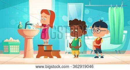 Kids Wash Hands In Bathroom. Children Personal Hygiene Concept. Vector Cartoon Illustration With Gir