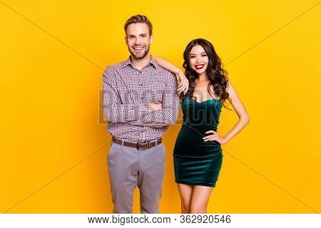 Photo Of Attractive Fancy Lady Macho Guy Youngster Students Ready To Celebrate Prom Graduation Party