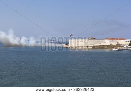 Sevastopol, Crimea, Russia - July 28, 2019: Shooting From Grad Rocket Launchers On Navy Day At The K