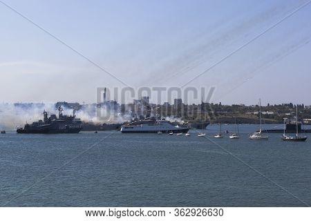 Sevastopol, Crimea, Russia - July 28, 2019: The Large Landing Craft Caesar Kunikov And Azov Are Firi