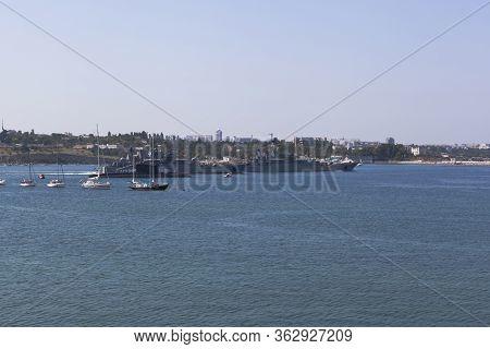Sevastopol, Crimea, Russia - July 28, 2019: Large Landing Ship Caesar Kunikov And Azov Leave The Sev