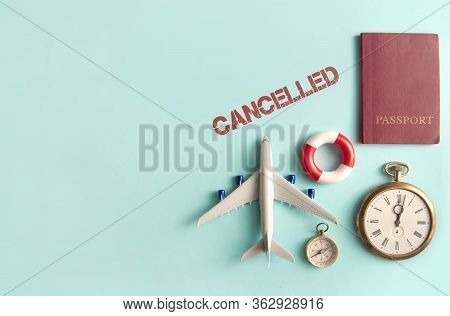 Cancelled Stamped By Travel Assessories Including Miniature Airplane, Clock And Passport With Space