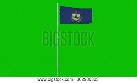 Vermont Flag Waving On Wind On Green Screen Or Chroma Key Background. 3d Rendering