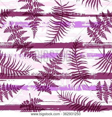 Cute New Zealand Fern Frond And Bracken Grass Overlaying Stripes Vector Seamless Pattern. Bali Fores