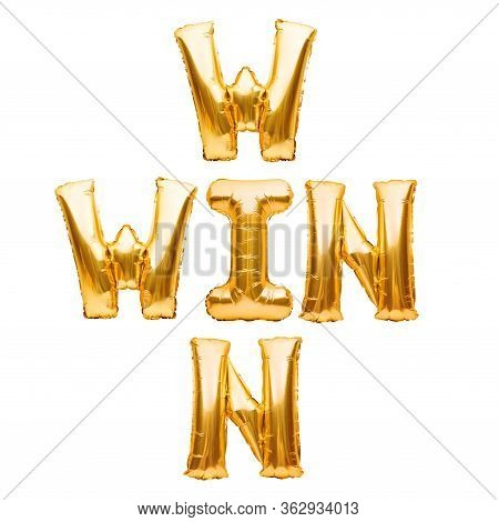 Words Win Win Made Of Golden Inflatable Balloons Isolated On White. Helium Balloons Gold Foil Letter