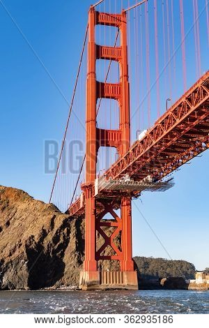 Famous Golden Gate Bridge In San Francisco California Usa. The Golden Gate Bridge Is A Suspension Br
