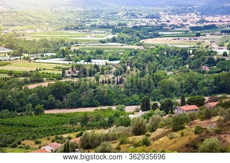 Views Of Languedoc-roussillon From Village Eus, France. Tiled Roof Houses, Vineyards And Mountains I