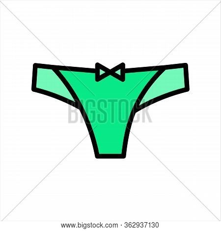 Female Panties Vector Icon In Flat Style Isolated On White Background. Illustration Of Woman Underwe