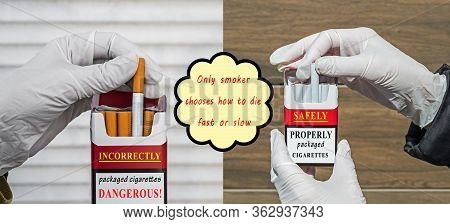 Picture Showing Incorrect Packaging Of Cigarettes By Manufacturers During Worldwide Spread Of Viral,