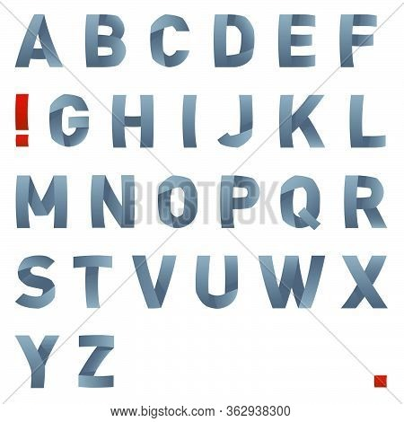 Vector Bended Font. Latin Alphabet Letters. Bended Letters Alphabet. Latin Font. Vector Illustration