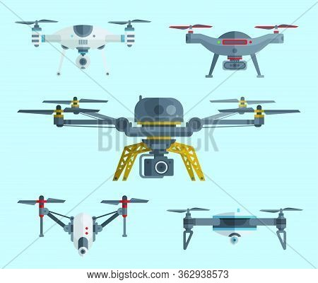 Drones Icon. Unmanned Aircrafts Drones With Controllers Vector Illustration. Set Of Modern Air Gadje