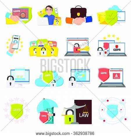 Gdpr Vector Set. General Data Protection Regulation Icons Collection. Gpdr Vector Images, Design Con