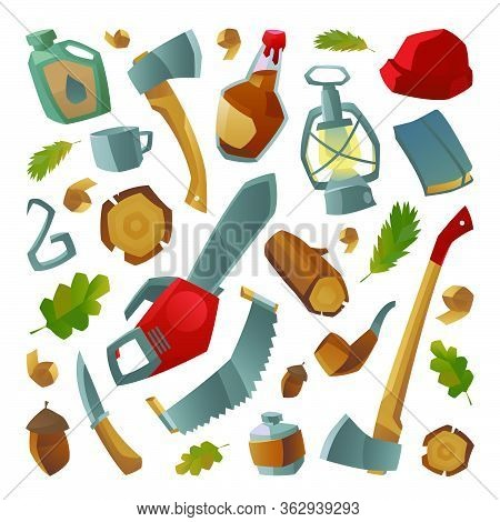 Collection Of Lumberjack Things And Work Tools. Lumberjack Things Element, Tools. Vector Illustratio