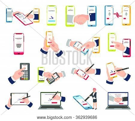 Electronic Signature, Digital Currency, Smart Contract Vector Set. Smart Contract Icon, Images, Desi