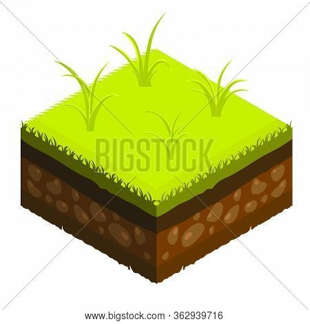 Isometric Soil Layers Diagram. Cross Section Of Green Grass And Underground Soil Layers Beneath. The