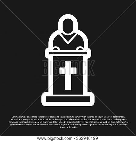Black Church Pastor Preaching Icon Isolated On Black Background. Vector Illustration