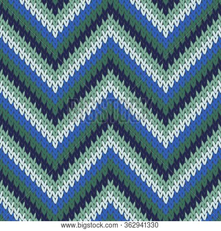 Cashmere Zigzag Chevron Stripes Christmas Knit Geometric Vector Seamless. Blanket Knitting Pattern I