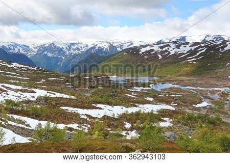 Norway Hiking Area - Swamps And Marshlands In Hordaland County, Next To Trolltunga Trail.