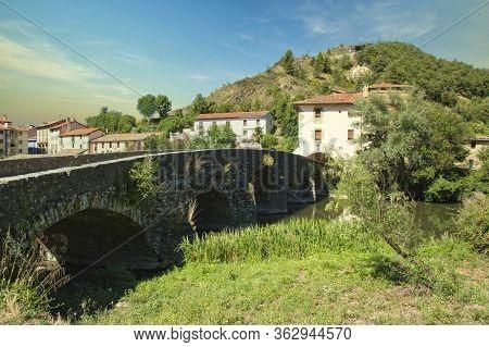 Roman Bridge On The Camino De Santiago Through Navarra