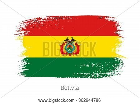 Bolivia Republic Official Flag In Shape Of Paintbrush Stroke. Bolivian National Identity Symbol For