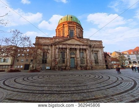 Nuremberg, Germany - January 01, 2020: Church St. Elisabeth In Downtown Nuremberg At Square Jokobspl