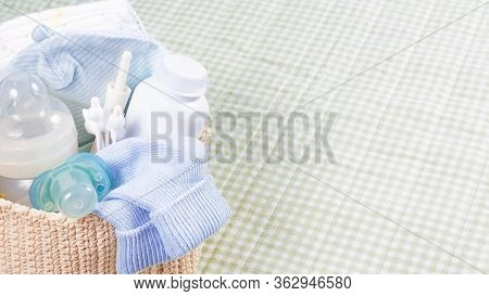 Banner Newborn Baby Care Products. Powder, Diapers, Babys Nipple, Bottle, Ears Stocks On Changing Pa