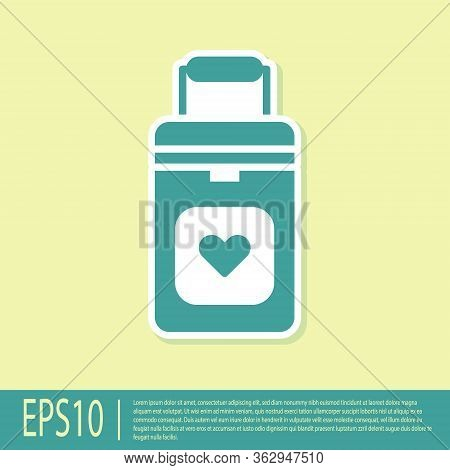 Green Cooler Box For Human Organs Transportation Icon Isolated On Yellow Background. Organ Transplan