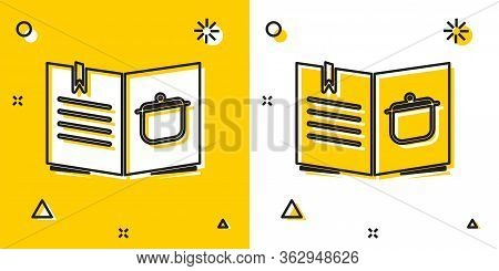 Black Cookbook Icon Isolated On Yellow And White Background. Cooking Book Icon. Recipe Book. Fork An