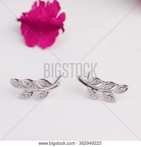 A Pair Of Beautiful 925 Sterling Silver Earrings In The Leaves Shape Decorated With Diamond Isolated
