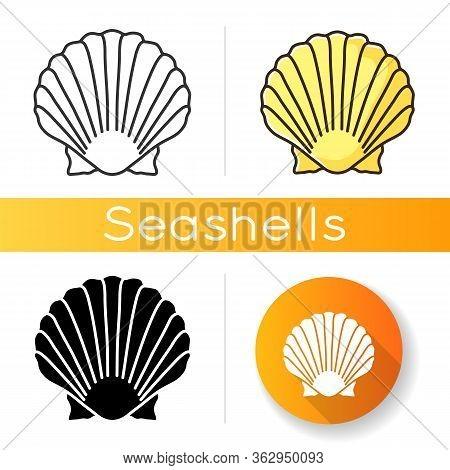 Scallop Shell Black Glyph Icon. Exotic Seashell, Decorative Conch. Ocean Souvenir, Conchology Silhou