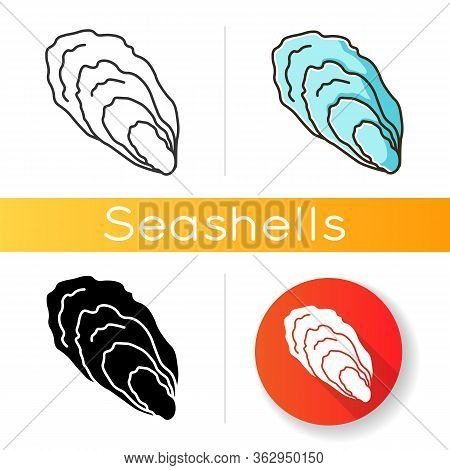 Oyster Black Glyph Icon. Common Seashell, Decorative Cockleshell. Gourmet Food, Seafood, Conchology