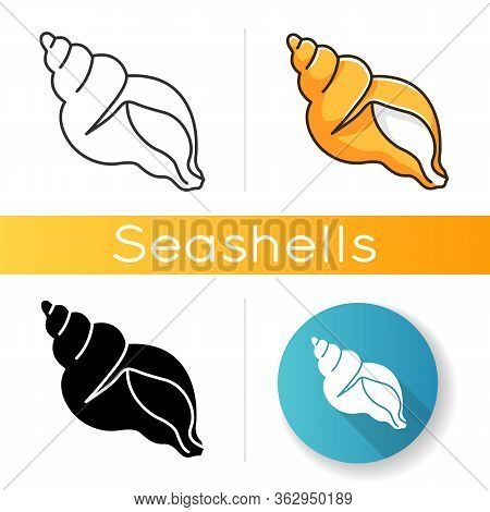 Tulip Shell Black Glyph Icon. Exotic Gastropod Cockleshell, Conchology Silhouette Symbol On White Sp