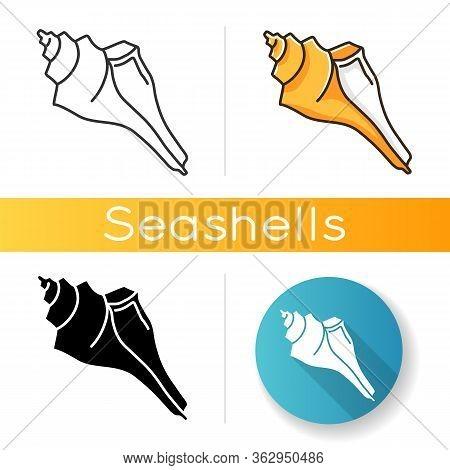 Triton Shell Black Glyph Icon. Exotic Ocean Conch, Conchology Silhouette Symbol On White Space. Trit