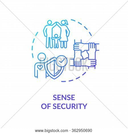 Sense Of Security Concept Icon. People Cooperation And Emotional Support Idea Thin Line Illustration