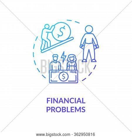 Financial Problems Concept Icon. Lack Of Money, Low Paid Job Idea Thin Line Illustration. Economic C