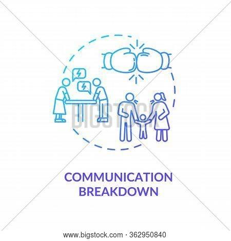 Communication Breakdown Concept Icon. Family Argument, Partners Conflict Idea Thin Line Illustration