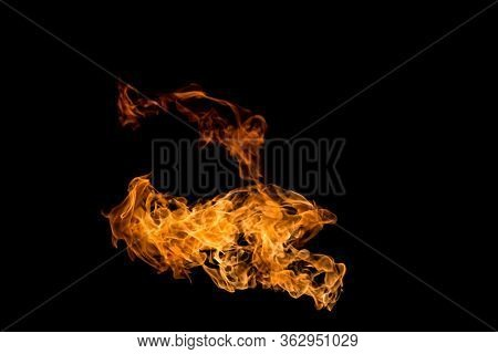 Fire Patterns. Flames On A Black Background. Fiery Patterns. Burning Flame. Blazing Fire. Phoenix