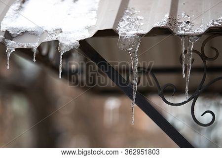 Many Small Transparent Icicles On The Roof Of The House
