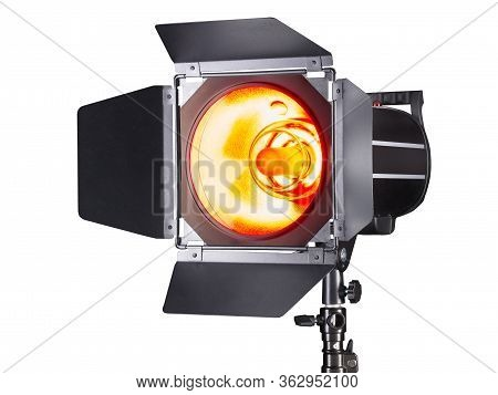 Photography Studio Flash Isolated On White Background With Lamp.